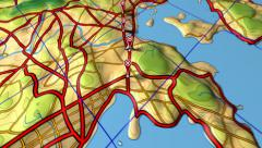 GPS (global positioning system) road map animation loop. Stock Footage