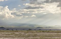 Volcanic craters on the flank of mount kilimanjaro seen from amboseli nationa Stock Photos