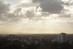 View to uhuru park in the business district of nairobi, kenya in the evening Stock Photos