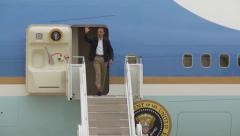 US President Obama Exit Air Force One Stock Footage