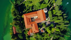 Monastery Visovac, aerial descenting shot Stock Footage