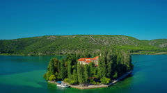 Island Visovac, aerial circular shot Stock Footage