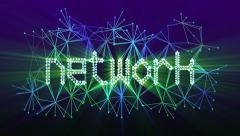 """Network"" text animation loop. A network of lines and dots. Stock Footage"