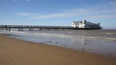 Grand Pier Weston-super-Mare Somerset England UK in sunshine August 2014 Stock Footage
