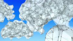 Flight through cloud computing networks of lines and dots. Looping. Stock Footage