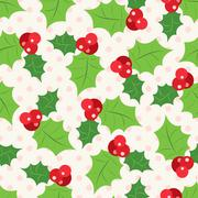 Seamless pattern of holly berry sprig.  Vector illustration Stock Illustration