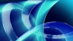 Blue rings: abstract modern background loop. Shining 3D glass rings. Stock Footage