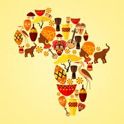 Africa seamless pattern - stock illustration
