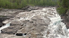 The river flows through the stone plateau Stock Footage