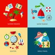 Holiday icons flat set - stock illustration