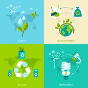 Ecology and recycling set - stock illustration