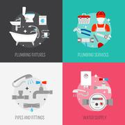 Plumber icon composition set Stock Illustration
