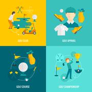 Golf icons flat Stock Illustration