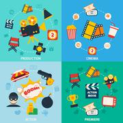 Action movie composition Stock Illustration
