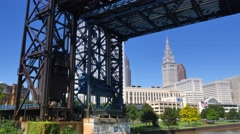 4K Cleveland Skyline Establishing Shot Stock Footage