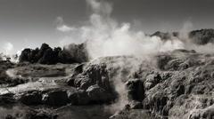 Geothermal landscape, Rotorua, New Zealand. Monochrome tint. Stock Footage