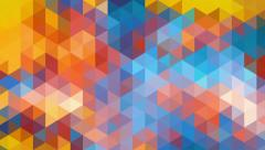 Triangles mosaic loop. Geometric abstract blue orange pixelated background. Stock Footage