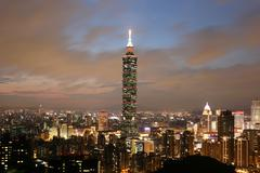 Stock Photo of taipei 101 skyscraper in downtown taiwan at twilight