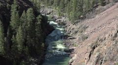 Mountain river gorge from steam engine railroad POV 4K 121 Stock Footage