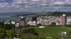 Wellington, New Zealand's capital city. Skyline, harbour and steep hills. Stock Footage