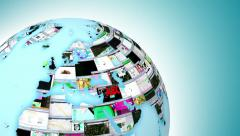 World Wide Web internet activity. Globe of web pages. Last 19 seconds is a loop. - stock footage