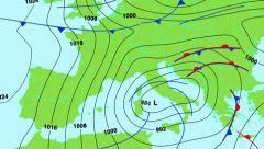 Sääennuste kartta Keski- ja Etelä-Euroopan (Yhdistynyt kuningaskunta, Italia, Espanja jne) Arkistovideo
