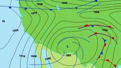 Sääennuste kartta Lounais Yhdysvallat. Arkistovideo