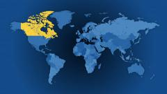Stock Video Footage of Political world map animated loop. A random selection of 100 countries.