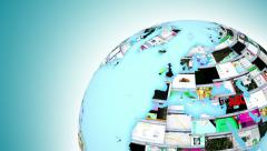 World Wide Web internet activity. Globe of web pages. Last 19 seconds is a loop. Stock Footage