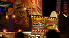 Carnival Vendor - Corn Dogs and Sausage Stock Footage