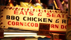 Carnival Vendor - BBQ Chicken and Ribs - stock footage