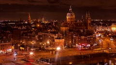 Amsterdam Holland skyline streets, canals, bridges, buildings, night, timelapse Stock Footage