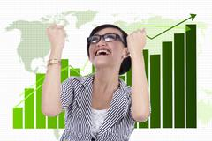 Businesswoman celebrating her achievement Stock Illustration