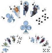 Royal Flush Clubs poker winning combination Mafia card set Stock Illustration