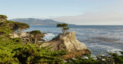 4K Lone Cypress 12 Sunset Ocean 17 Miles Drive Monterey California Stock Footage