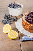 Baked blueberry lemon cheese cake Stock Photos