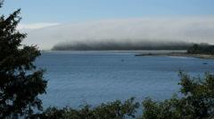 Oregon Tillamook Bay mist over island time lapse 4k Stock Footage