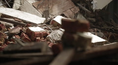 Tracking shot of debris and rubble - stock footage
