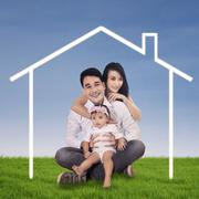 Stock Illustration of happy family and dream home
