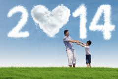 Happy family enjoying new year holiday Stock Illustration