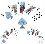 Royal Flush Spades poker winning combination Mafia card set - stock illustration
