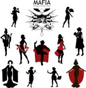 Female characters Silhouettes retro Mafia set - stock illustration