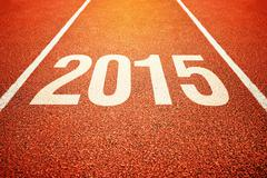 2015 on athletics all weather running track Stock Photos