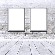 Two blank vertical paintings poster in black frame Stock Illustration