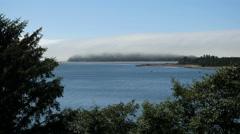 Oregon Tillamook Bay with low cloud on headland 4k Stock Footage