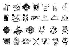 Food, restaurant and silverware icons set Stock Illustration