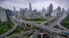 Shanghai, China Highways and Cityscape Stock Footage