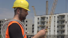 Construction worker with water pipes, washing machines pipe, installing plumber Stock Footage