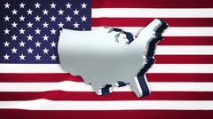 USA map on Stars and Stripes flag - stock footage