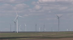 Large fields with wind turbines Stock Footage
